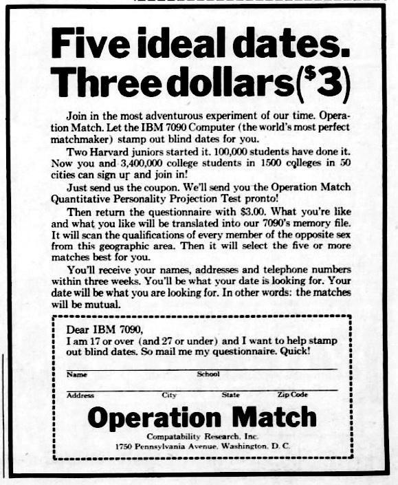 Onlinedating operation match 1965