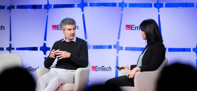 Yoshua Bengio speaking with Karen Hao at the EmTech MIT conference, September 18, 2019